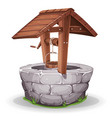 stone and wood water well vector image vector image