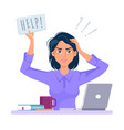 stressed and frustrated business woman asking for vector image