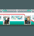 subway crowded vector image