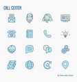 support service thin line icons set vector image vector image
