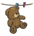 teddy bear on rope sketch engraving vector image vector image