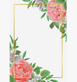 template with flowers and greenery vector image