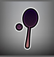 tennis racquet with ball sign violet vector image vector image