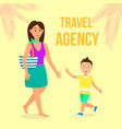 travel agency color flat poster with lettering vector image vector image