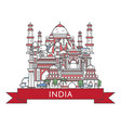 travel india poster in linear style vector image vector image