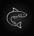 trout or salmon fish silver icon on dark vector image