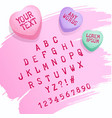 valentine candy alphabet and candy hearts for vector image