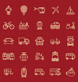 vehicle line color icons on red background vector image