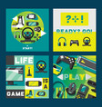 video games and gamers aquare cards design vector image vector image