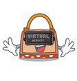 virtual reality hand bag mascot cartoon vector image vector image