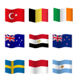 Waving flags of different countries vector image vector image