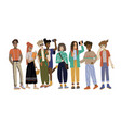 young people full-length students in various vector image vector image