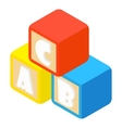 Alphabet cubes with letters icon cartoon style vector image