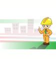 Engineers cartoon on building background vector image