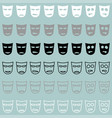 theatrical mask white grey black icon vector image