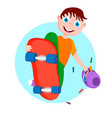a boy with a skateboard in a jump vector image