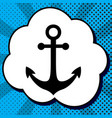 anchor icon black icon in bubble on blue vector image