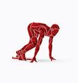athlete runner a man prepare start running action vector image