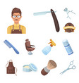 barbershop and equipment cartoon icons in set vector image