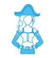 beautiful woman pirate cartoon vector image vector image