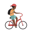 boy riding bicycle happy teenager with helmet vector image