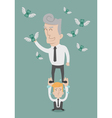 business man working as a team to grab money vector image vector image