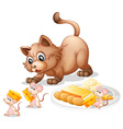 Cat and mice vector image