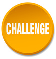 challenge orange round flat isolated push button vector image vector image