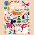 christmas animals and trees in vector image