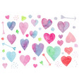 Collection watercolor hearts for valentines day