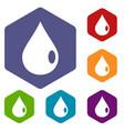 drop icons set hexagon vector image vector image