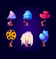 fantasy trees for ui game about alien magic world vector image