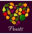 Fruits poster in heart shape vector image vector image