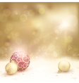 Golden Christmas background with baubles vector image vector image