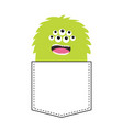 green fluffy monster silhouette in the pocket vector image