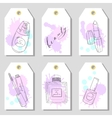 Hand drawn cosmetics set of gift tags Beauty and vector image vector image