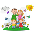 Happy family against a beautiful landscape vector image