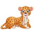 happy leopard cartoon lay down vector image vector image