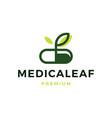 herbal capsule pill leaf medicine logo icon vector image