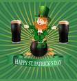 image leprechaun and two glasses of dark beer vector image vector image
