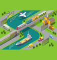 isometric transportation infographic template vector image