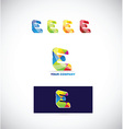 Letter e logo icon colors set vector image