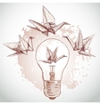 Origami paper cranes and light sketch line on