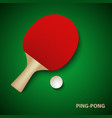 ping pong poster with racket and ball template vector image