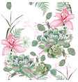 pink tropical orchid flowers with herbs vector image vector image