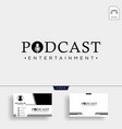 podcast typography logo with business card vector image