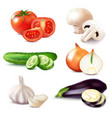 realistic vegetable slices set vector image