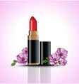 red lip stick mock up with flowers decor vector image vector image