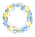 round frame with pretty flowers muscari and text vector image
