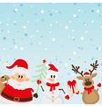 Santa Claus reindeer snowman with Christmas tree vector image vector image
